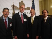 From left to right: Al Pisani of Northrop Grumman, Andy Maner of NISC, Sec. Michael Chertoff and Greg Baroni of Éclat Consulting
