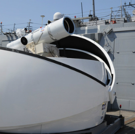 "The Navy's ""Laser Weapon System"" (LaWS) prototype aboard ship."