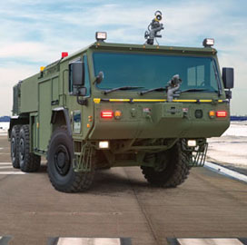 Oshkosh Defense to Enter Full-Rate Production for Marine Corps P-19R Aircraft Firefighting Trucks - top government contractors - best government contracting event