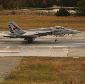 General Atomics Conducts Super Hornet Fly-In Recovery With Arresting Gear System - top government contractors - best government contracting event