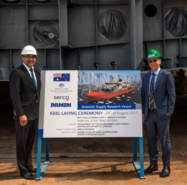 Serco-Led Team Lays Keel for Australia's ASRV Icebreaker - top government contractors - best government contracting event