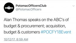 P.O.C. FY18 Budgets & Procurement Recap: Keynote Speaker Alan B. Thomas speaks on the ABC's of budget and procurement: Acquisition, Budget & Customers - top government contractors - best government contracting event