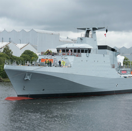 BAE Turns Over Patrol Vessel to UK MoD - top government contractors - best government contracting event