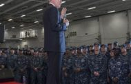 Navy Secretary Ray Mabus Visits Gerald R Ford Aircraft Carrier at HII's Newport News Site