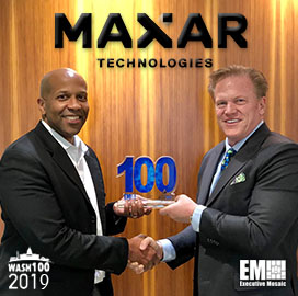 Jim Garrettson, CEO of Executive Mosaic, Presents Tony Frazier, President of Radiant Solutions, His Fourth Wash100 Award - top government contractors - best government contracting event